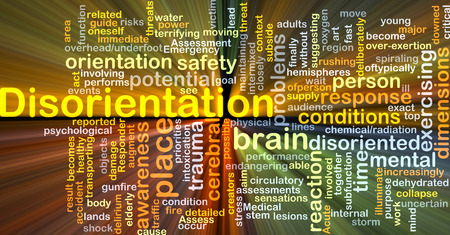 disorientation: Background concept wordcloud illustration of disorientation glowing light Stock Photo