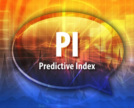 predictive: word speech bubble illustration of business acronym term PI Predictive index