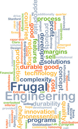 wordcloud: Background concept wordcloud illustration of frugal engineering