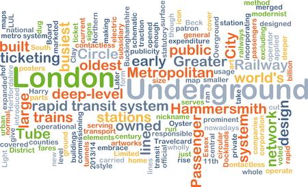 ticketing: Background concept wordcloud illustration of London underground Stock Photo