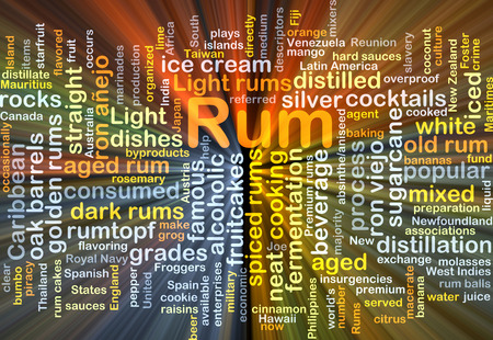 fruitcakes: Background concept wordcloud illustration of rum glowing light Stock Photo