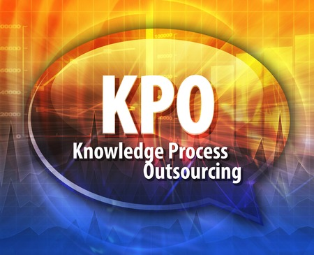 outsourcing: word speech bubble illustration of business acronym term KPO Knowledge Process Outsourcing Stock Photo