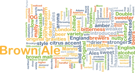 ale: Background concept wordcloud illustration of brown ale Stock Photo