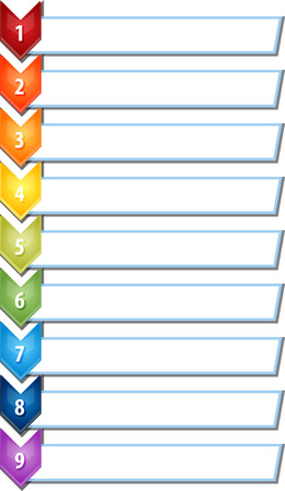 theoretical: blank business strategy concept infographic chevron list diagram illustration nine 9 steps