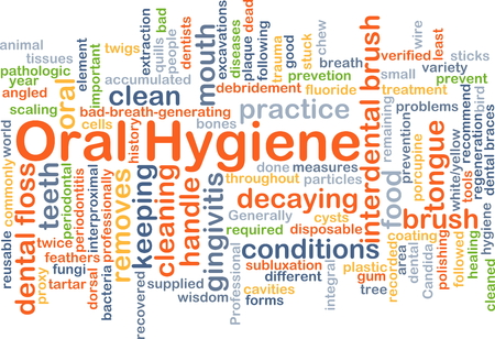 keep clean: Background concept wordcloud illustration of oral hygiene Stock Photo