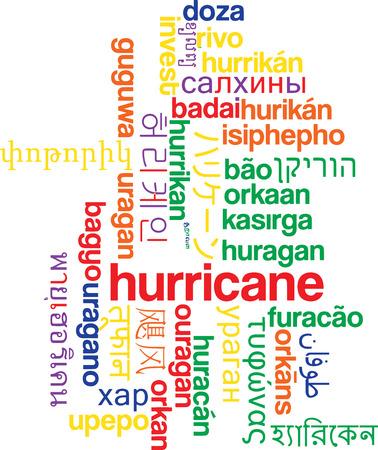 multilanguage: Background concept wordcloud multilanguage international many language illustration of hurricane
