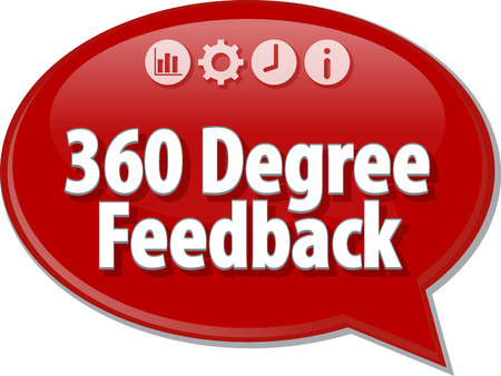 feedback icon: Speech bubble dialog illustration of business term saying 360 degree feedback evaluation Stock Photo
