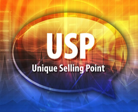 unique selling proposition: word speech bubble illustration of business acronym term USP Unique Selling Point