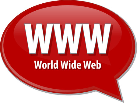 world wide web: Speech bubble illustration of information technology acronym abbreviation term definition WWW World Wide Web