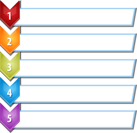 les chiffres: Concept de stratégie d'affaires blanc infographique liste chevron diagramme illustration cinq 5 étapes Banque d'images