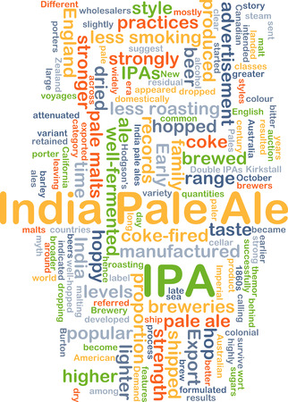 ale: Background concept wordcloud illustration of Indian pale ale IPA Stock Photo