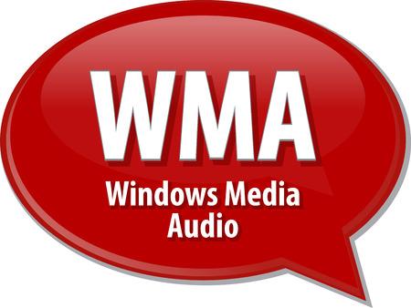 definition: Speech bubble illustration of information technology acronym abbreviation term definition WMA Windows Media Audio