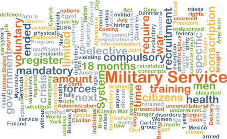 conscription: Background concept wordcloud illustration of military service