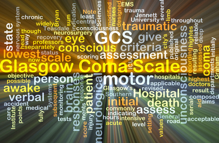 traumatic: Background concept wordcloud illustration of Glasgow coma scale GCS glowing light Stock Photo