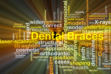 regard: Background concept wordcloud illustration of dental braces glowing light