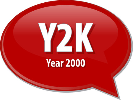 abbreviation: Speech bubble illustration of information technology acronym abbreviation term definition Y2K Year 2000