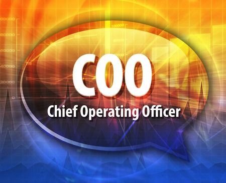 coo: word speech bubble illustration of business acronym term COO Chief Operating Officer Stock Photo