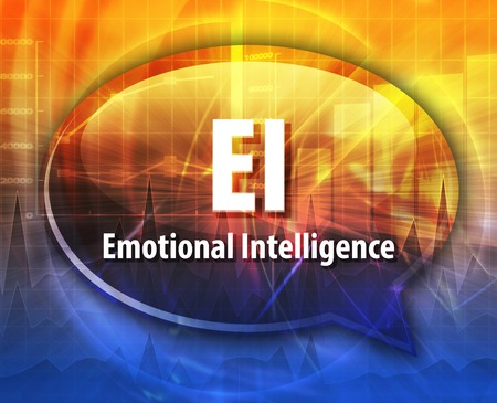 ei: word speech bubble illustration of business acronym term EI emotional intelligence