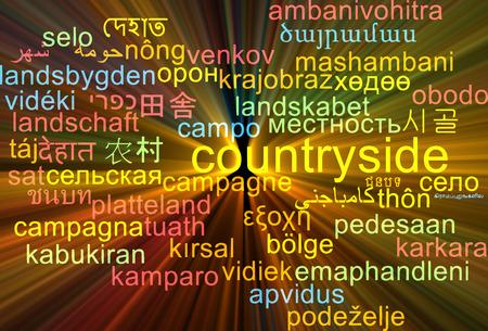 english countryside: Background concept wordcloud multilanguage international many language illustration of countryside glowing light
