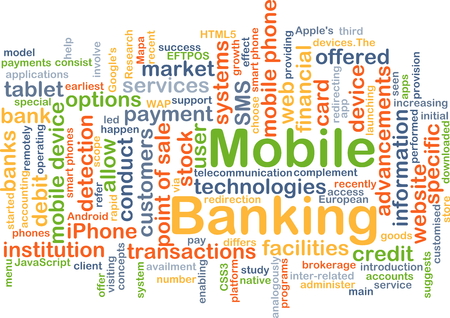 sms payment: Background concept wordcloud illustration of mobile banking Stock Photo