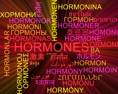 hormones: Background concept wordcloud multilanguage international many language illustration of hormones glowing light