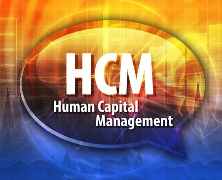 capital humano: ilustraci�n de la palabra burbuja del discurso del t�rmino acr�nimo negocio HCM Gesti�n de Capital Humano