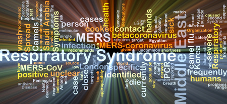 syndrome: Background concept wordcloud illustration of Middle East respiratory syndrome MERS glowing light