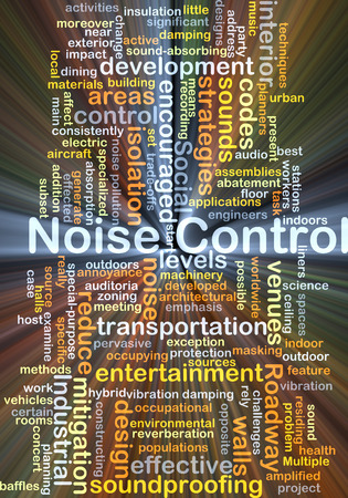 noise isolation: Background concept wordcloud illustration of noise control glowing light