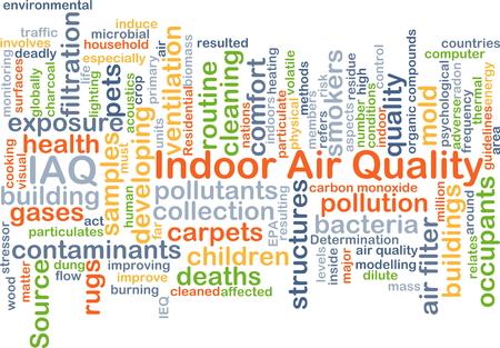 Achtergrond concept wordcloud illustratie van de luchtkwaliteit binnenshuis IAQ Stockfoto