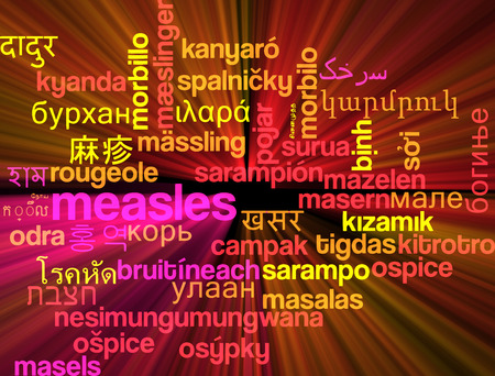 measles: Background concept wordcloud multilanguage international many language illustration of measles glowing light