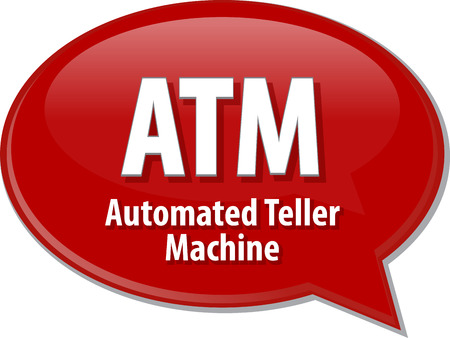 automated: Speech bubble illustration of information technology acronym abbreviation term definition ATM Automated Teller Machine