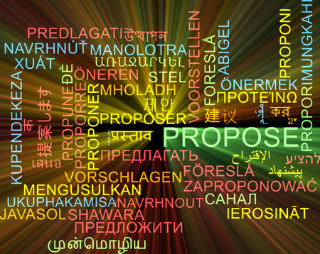 propose: Background concept wordcloud multilanguage international many language illustration of propose glowing light