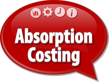 Speech bubble dialog illustration of business term saying Absorption Costing accounting