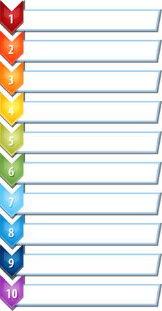 ten empty: blank business strategy concept infographic chevron list diagram illustration ten 10 steps