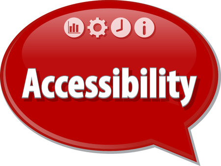 accessibility: Speech bubble dialog illustration of business term saying Accessibility