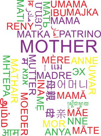 multilanguage: Background concept wordcloud multilanguage international many language illustration of mother