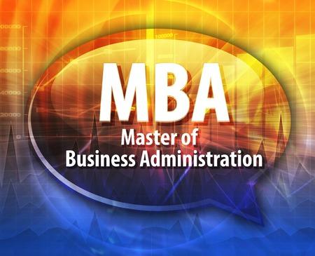 administracion empresarial: ilustraci�n de la palabra burbuja del discurso de la sigla de negocios MBA plazo Master of Business Administration
