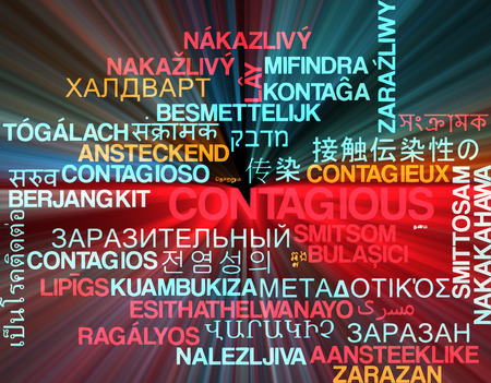 contagious: Background concept wordcloud multilanguage international many language illustration of contagious glowing light