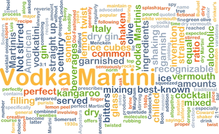 shaken: Background concept wordcloud illustration of vodka martini