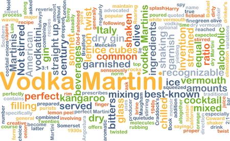 shaken: Background concept wordcloud illustration of vodka martini