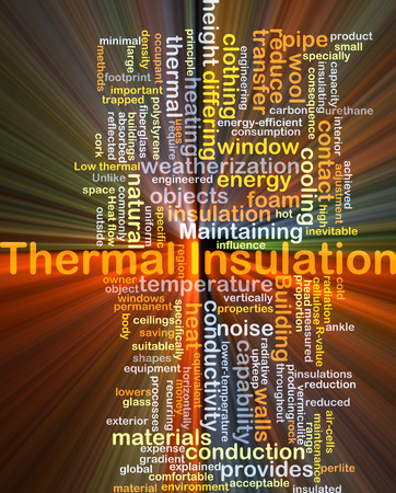 thermal insulation: Background concept wordcloud illustration of thermal insulation glowing light
