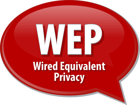 equivalent: Speech bubble illustration of information technology acronym abbreviation term definition WEP Wired Equivalent Privacy