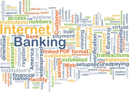 financial institutions: Background concept wordcloud illustration of internet banking