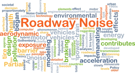 emanating: Background concept wordcloud illustration of roadway noise