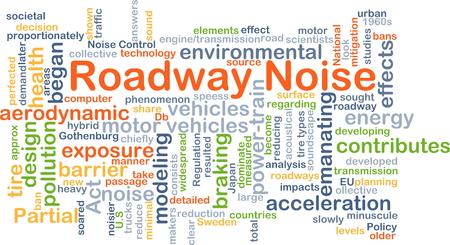 ruido: Ilustración de fondo wordcloud concepto de ruido de carretera