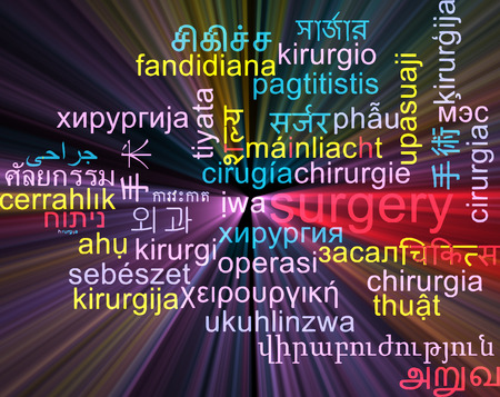 surgery concept: Background concept wordcloud multilanguage international many language illustration of surgery glowing light