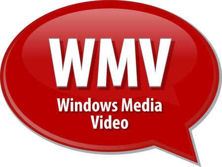 windows media video: Speech bubble illustration of information technology acronym abbreviation term definition WMV Windows Media Video Stock Photo