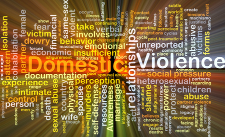 Background concept wordcloud illustration of domestic violence glowing light