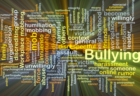 mobbing: Background concept wordcloud illustration of bullying glowing light