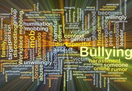 acoso laboral: Ilustración de wordcloud concepto de la luz que brilla intensamente bullying
